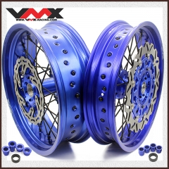 VMX COMPLETE SUPERMOTO WHEELS BLUE RIMS FOR YAMAHA YZ250F 01-20 YZ450F 03-20 DISCS