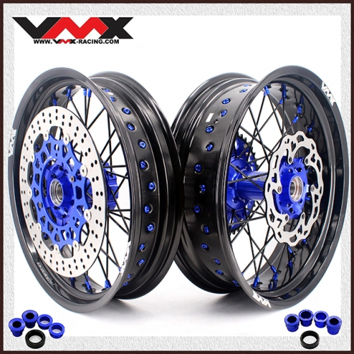 VMX COMPLETE SUPERMOTO WHEELS FOR HUSABERG FE FC 250 450 BLUE/BLACK