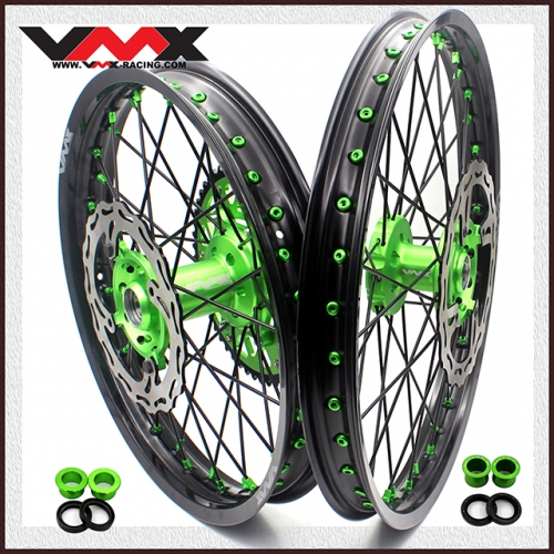 VMX 21/19 COMPLETE WHEELS RIMS FIT KAWASAKI KX250F  KX450F BLACK/GREEN