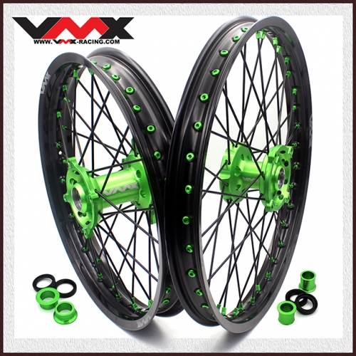 VMX MX WHEELS SET 21/19 FOR KAWASAKI KX250F KX450F 2006-2019 GREEN/BLACK