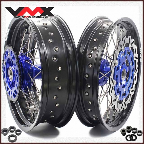 VMX 3.5/5.0 Complete Supermoto Cush Drive Wheels For KTM 690 SMC Blue Hub With Disc