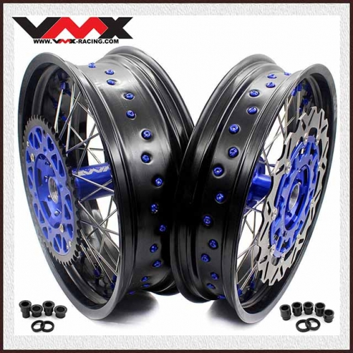 VMX COMPLETE SUPERMOTO WHEELS FOR YAMAHA YZ250F/450F YZ125/250 BLUE NIPPLE 320MM DISC
