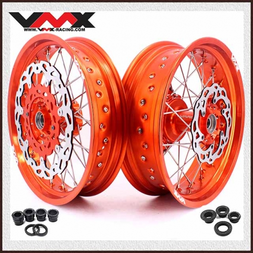 VMX 3.5/5.0 Supermoto Cush Drive Wheels Fit KTM 690 SMC Orange Rim With Disc