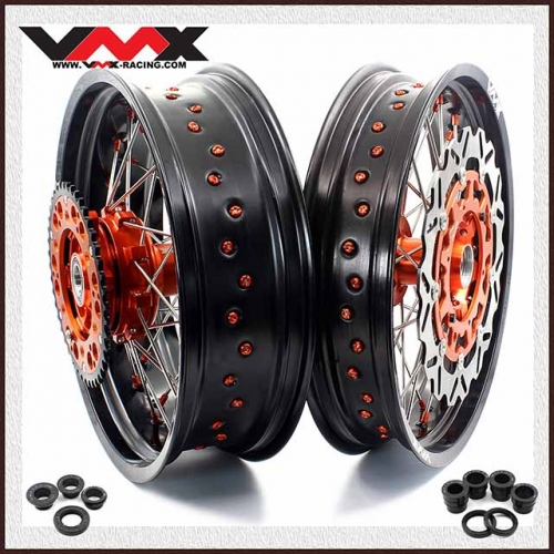 VMX Complete Supermoto Cush Drive Wheels Fit KTM 690 ENDURO R SMC Orange Hub