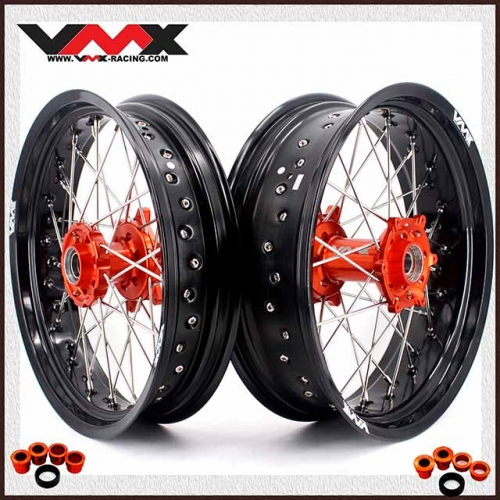 VMX 3.5/5.0 SUPERMOTO WHEEL SET  FOR KTM SX-F EXC-R 250 500 530 ORANGE