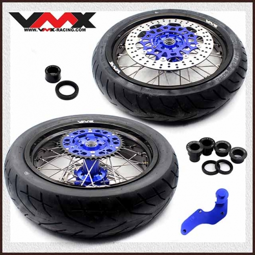 VMX 3.5/4.25 Supermoto Wheels With Tire Fit YAMAHA WR 250F 450F Blue Hub
