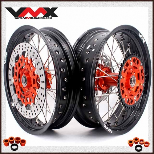 VMX 3.5/5.0 Complete Supermoto Wheels Set Fit KTM SX EXC-R 250 450 Orange Hub With Disc