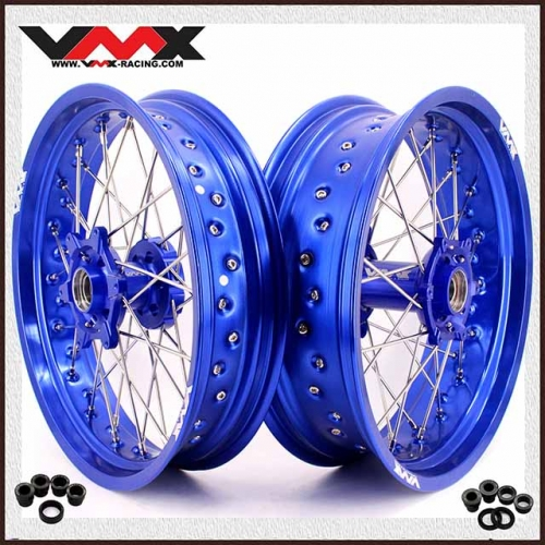 VMX 3.5/5.0 Supermoto Wheels Blue Rim Compatible with KTM SXF EXC-R XC-W 125 250 200 450
