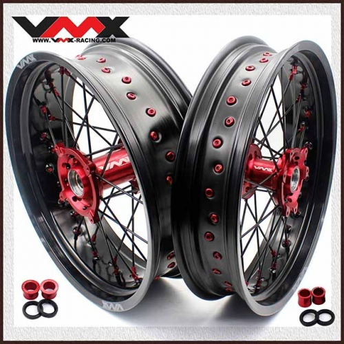 VMX 3.5/5.0 Motorcycle Supermoto Wheel Set Fit HONDA CRF250R CRF450R Red Nipple Black Spoke
