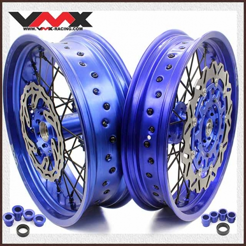 VMX 3.5/5.0 Motorcycle Supermoto Wheels Blue Rim Fit YAMAHA YZ250F YZ450F 03-20 Black Spoke Disc