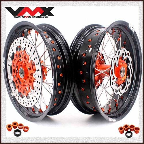 VMX 3.5/5.0 Complete Supermoto Wheels Compatible with KTM EXC XC-W 250 450 505 Orange Nipple