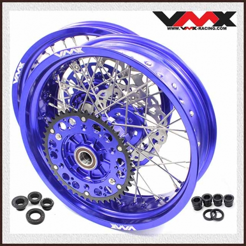 VMX 3.5/5.0 Complete Supermoto Cush Drive Wheels Fit KTM 690 SMC Blue Rim