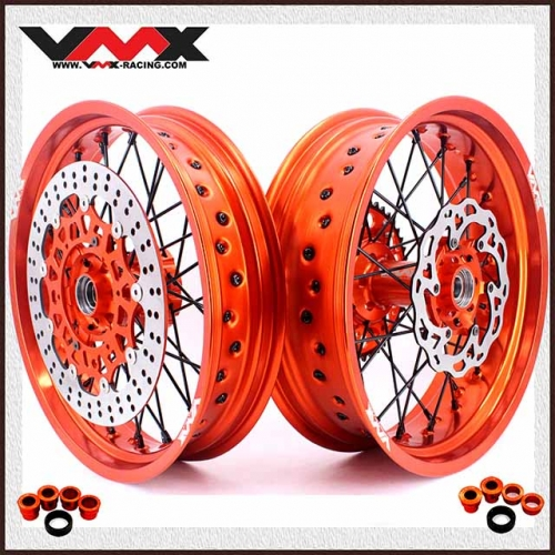 VMX 3.5/5.0 Complete Supermoto Wheels Compatible with KTM SX-F EXC XC 250 450 530 Orange Rim Black Nipple