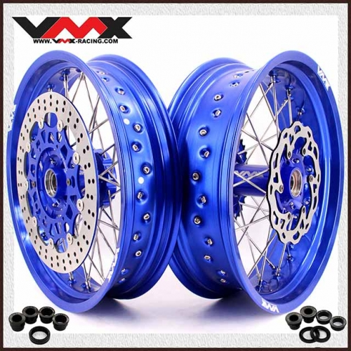 VMX 3.5/5.0 Supermoto Wheels Set Compatible with KTM SXF EXC XC-W 250 350 530 Blue Rim With Disc