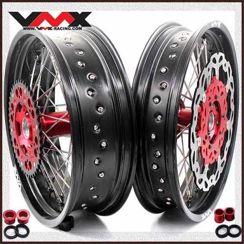 VMX 3.5/5.0 Complete Supermoto Wheel Set Fit HONDA CRF250R CRF450R 2020 Red Hub