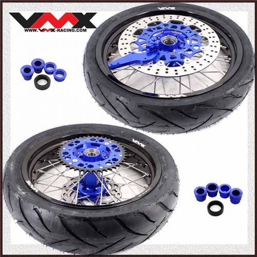 VMX SUPERMOTO WHEELS WITH TIRE FOR HUSABERG FE FC 250 450 BLUE