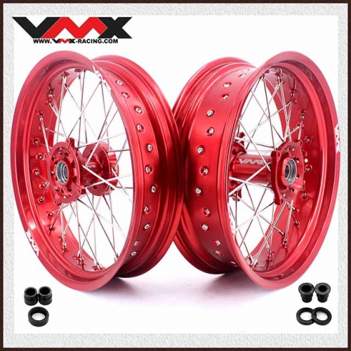 VMX 3.5/5.0 Supermoto Wheels Set Fit HUSQVARNA TE/TC/TXC/SMR Red Rim