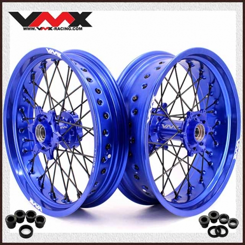 VMX 3.5/5.0 Supermoto Wheels Set Compatible with KTM SX EXC XCF 250 400 530 Blue Rim Black Spoke
