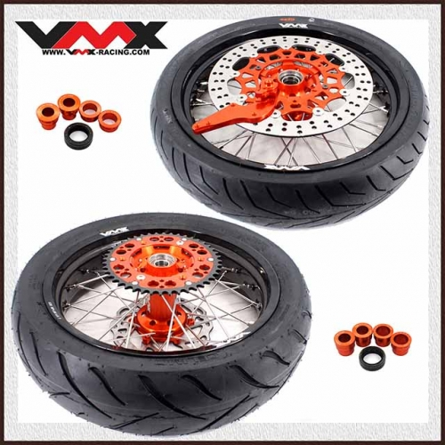 VMX 3.5/5.0 Supermoto Wheels With Tire Compatible with KTM SXF EXC-R XC-F 125 450 2003-2020 Orange