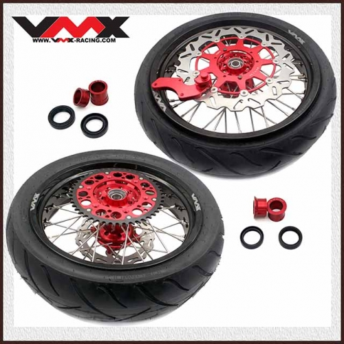VMX 3.5/4.25 Motorcycle Supermoto Wheel Rim Set Tire Fit HONDA CRF250R CRF450R Red Hub