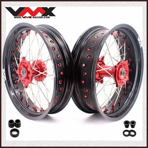 VMX 3.5/5.0 Supermoto Wheel Rim Set Fit HUSQVARNA TE/TC/TXC/SMR Red Nipple