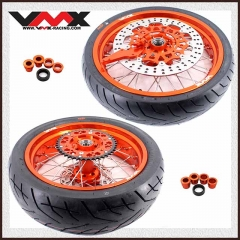 VMX SUPERMOTO WHEELS ORANGE RIMS CST TIRE FOR KTM EXC SXF EXC-R XC-F 125 530 250 450 2003-2020