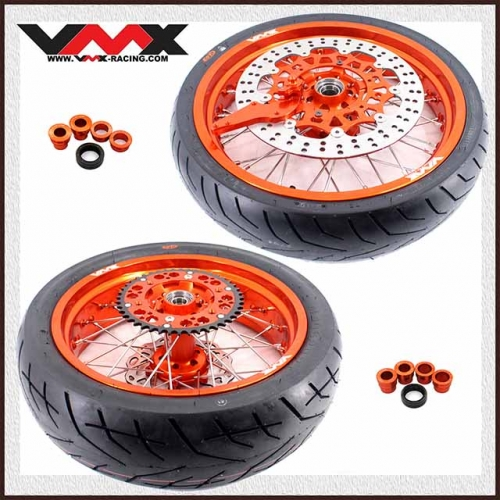 VMX 3.5/5.0 SUPERMOTO WHEELS ORANGE RIMS WITH CST TIRE FOR KTM EXC SXF EXC-R XC-F 125 530 250 450 2003-2020
