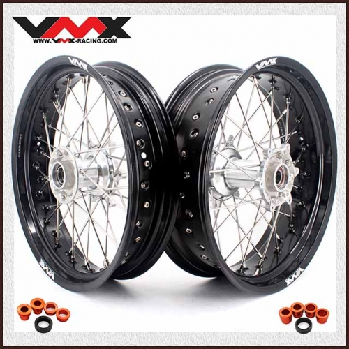 VMX 3.5/5.0 Casting Supermoto Wheels Compatible with KTM SX-F EXC-R 250 500 530 Silver Hub