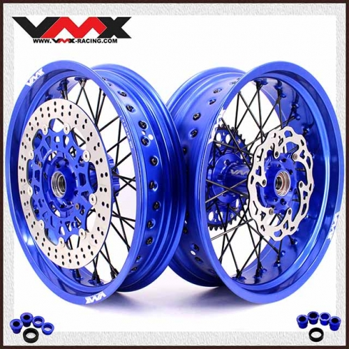 VMX 3.5/5.0 Complete Supermoto Wheels Set Compatible with KTM SX-F EXC 250 200 Blue Rim