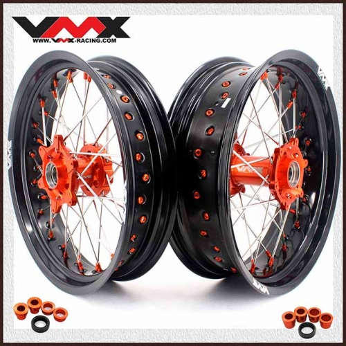 VMX 3.5/5.0 Supermoto Wheels Set Compatible with KTM SXF EXC-R 250 530 Orange Nipple