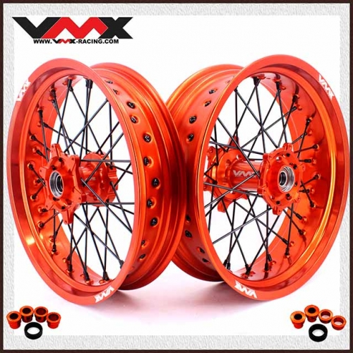 VMX 3.5/5.0 Complete Supermoto Wheels Compatible with KTM SX-F EXC 250 350 Black Nipple Orange Rim