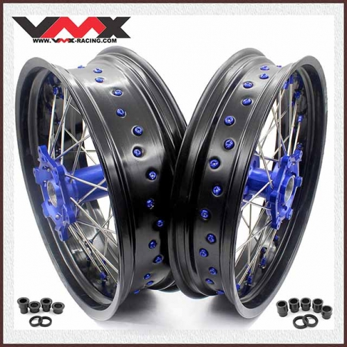 VMX 3.5/5.0 Supermoto Wheel Fit YAMAHA WR 250F 450F Blue Nipple