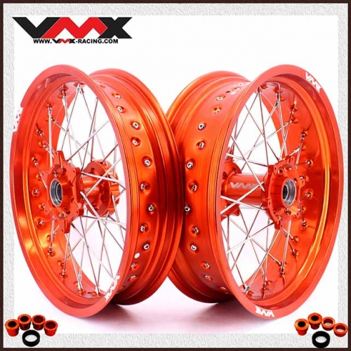 VMX 3.5/5.0 Supermoto Wheels Orange Rim Compatible with KTM  SXF EXC-R 250 530