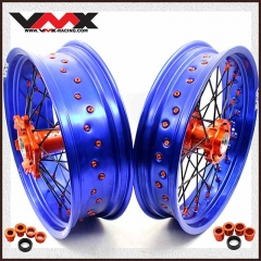 VMX 3.5/5.0 Supermoto Wheels Set Compatible with KTM EXC SX XC 250 400 530 Blue Rim Orange Nipple