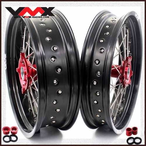 VMX 3.5/5.0 Motorcycle Supermoto Wheels Set Fit HONDA CRF250R CRF450R 2004-2013 Red