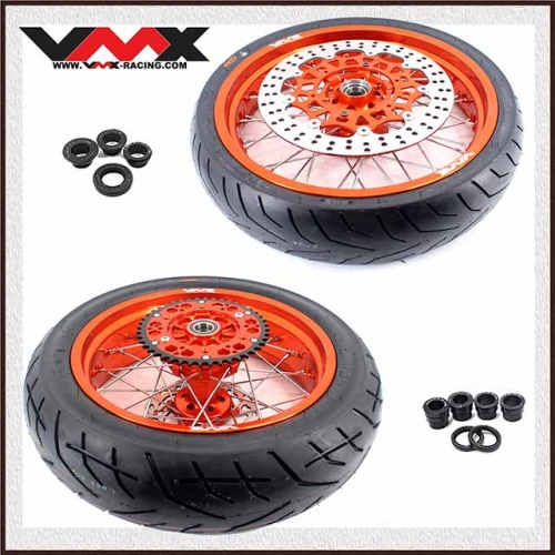 VMX 3.5/5.0 Supermoto Cush Drive Wheels Fit KTM 690 SMC With CST Tire Orange Rim