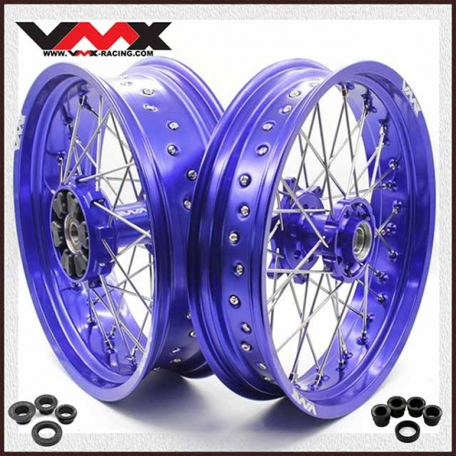 VMX 3.5/5.0 Supermoto Cush Drive Wheels Fit KTM 690 ENDURO R SMC Blue Rim