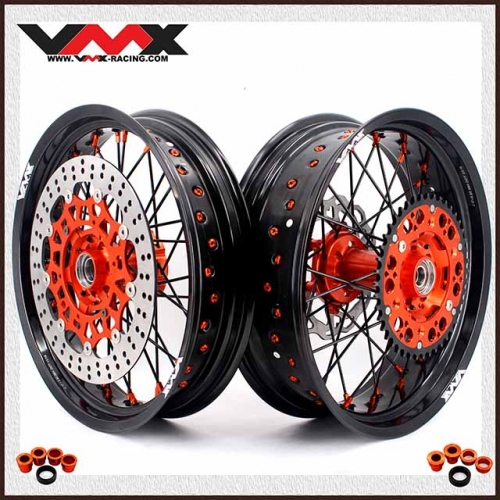 VMX COMPLETE SUPERMOTO WHEEL SET FOR KTM SX-F EXC XC 250 500 BLACK SPOKE