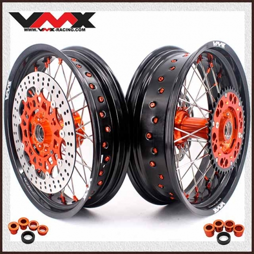 VMX Supermoto Casting Wheels Fit KTM SX EXC 250 400 500 Orange Hub With Disc