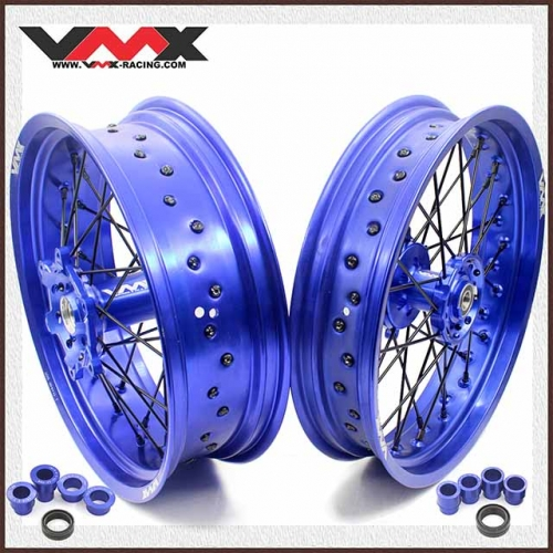 VMX 3.5/5.0 Supermoto Wheel Fit YAMAHA WR 250F 450F Blue Rim Black spoke and nipple
