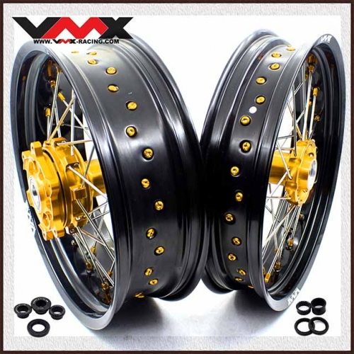 VMX 3.5/5.0 Supermoto Motard Cush Drive Wheels Fit KTM 690 ENDURO R SMC Gold Nipple
