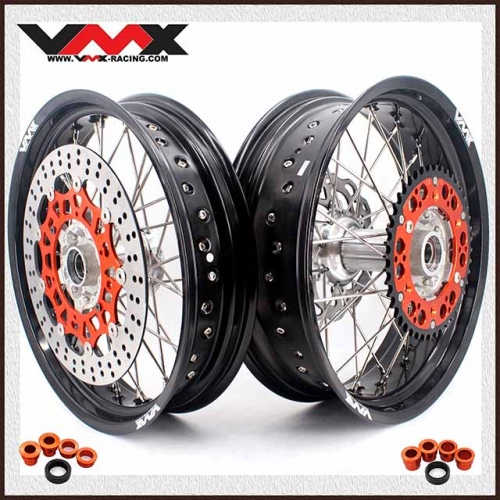 VMX 3.5/5.0 Supermoto Casting Wheels Compatible with KTM SX EXC 250 400 450 Silver Hub
