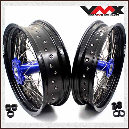 VMX 3.5/5.0 Supermoto Wheel Set Fit TM EN MX Bike 125-530 Blue Aluminium Hub