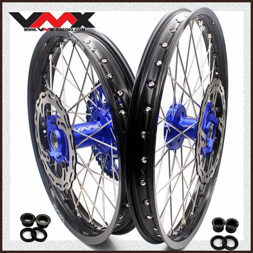 VMX 21/19 Complete Wheels Set Fit KAWASAKI KX250F KX450F 2006-2020 Blue With DIsc