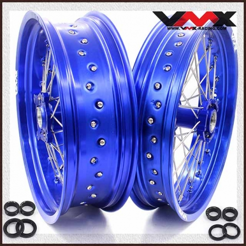 VMX 3.5/5.0 Supermoto Wheels Set Fit TM Bike 125 250 300 450 530 Blue Rim