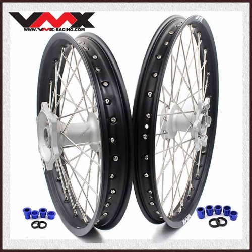 VMX MX Casting Wheel Set 21/19 Fit YAMAHA YZ 250F 450F YZ 125 250  Silver Hub Black Rim