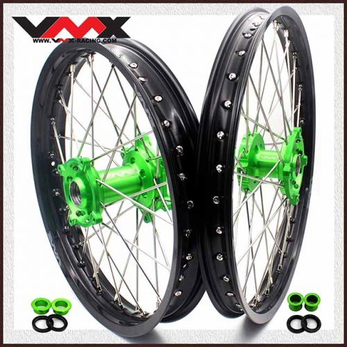 VMX 21/19 Wheels Rim Set Fit KAWASAKI KX250F KX450F 2006-2020 Green