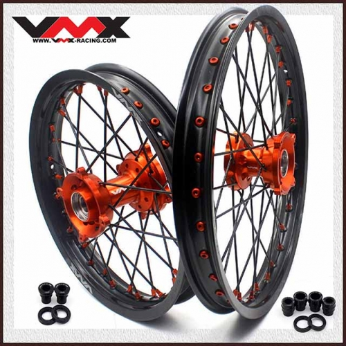 VMX 19/16 Kid's Big Wheel Fit KTM SX 85  03-18 Black Spoke Orange Nipple