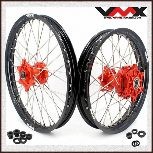 VMX 21/18  Compatible with KTM690 ENDURO R SMC Cush Drive Wheel Set Orange Hub 2008-2020