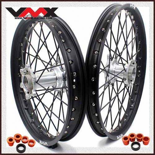 VMX 21/18 Enduro Casting Wheel Set Compatible with KTM EXC XC-W XC 250 300 400 530 Black Spoke